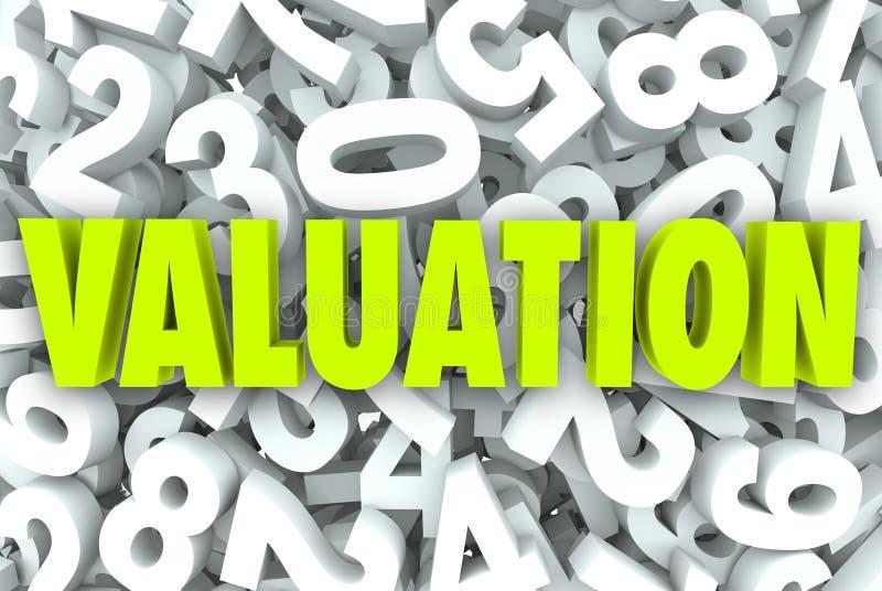 Waardevaststellings 3d Word Bedrijf Bedrijfswaarde met een waarde van Prijsveelvouden stock illustratie