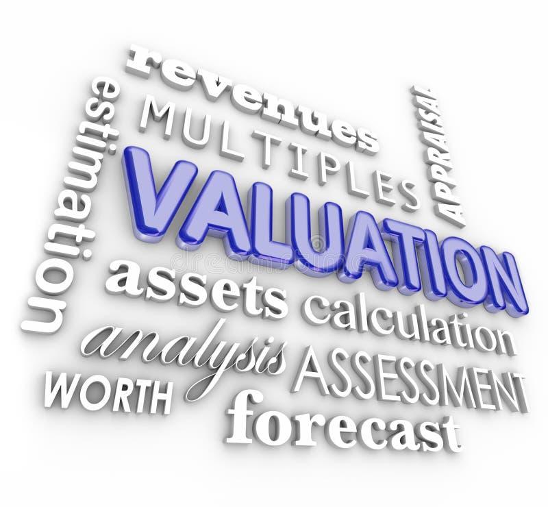 Waardevaststellings 3d Word Zaken van Collageveelvouden Revenues Assets Company stock illustratie