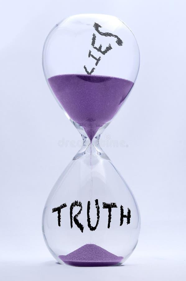 Waarheid en Leugenszandloper stock foto's