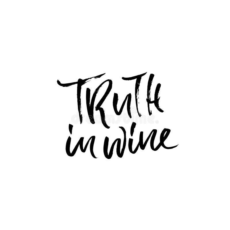 Waarheid in wijn Vector illustratie Kalligrafische banner Het moderne droge borstel van letters voorzien In vinoveritas vector illustratie
