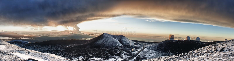 Waarnemingscentrum bij de top van Mauna Kea royalty-vrije stock foto's