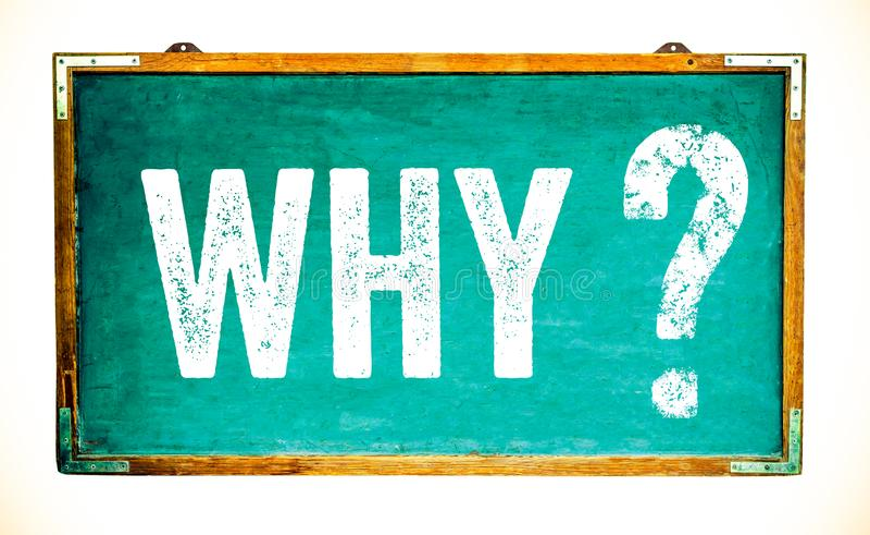 Waarom vraagtekentekst op een heldergroen oud grungy uitstekend breed houten bord of retro bord met doorstaan kader stock afbeeldingen