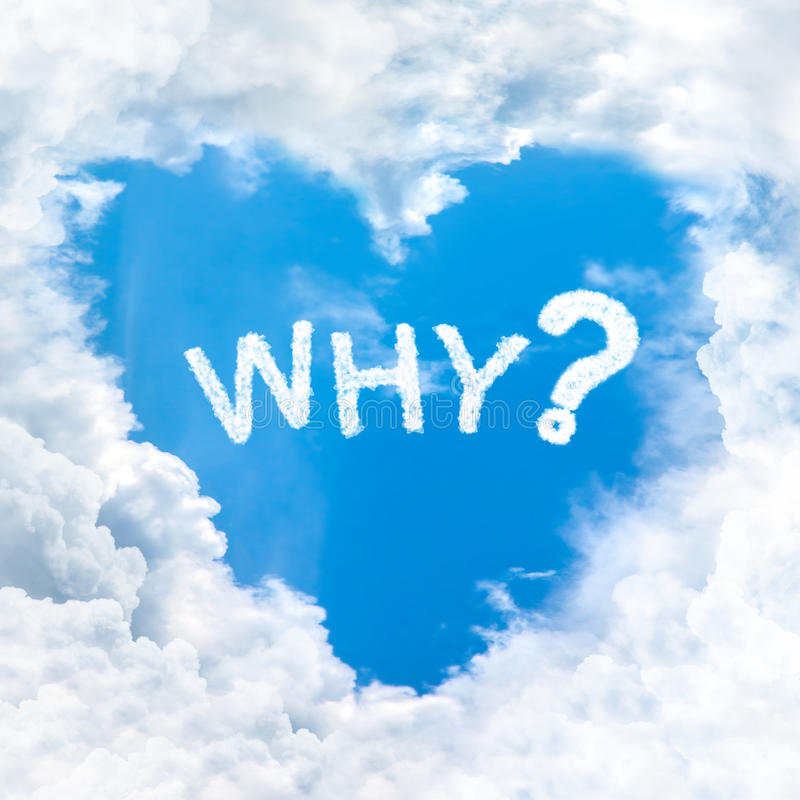 Waarom vraagwoord op blauwe hemel royalty-vrije stock foto's