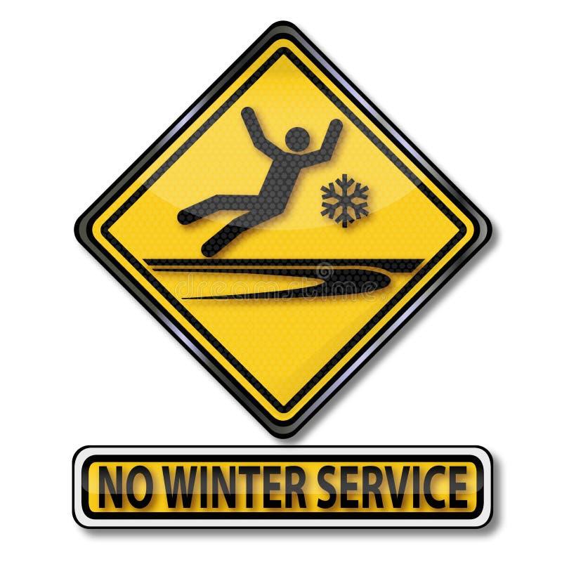 Waarschuw geen de winter dienst en het uitglijden vector illustratie