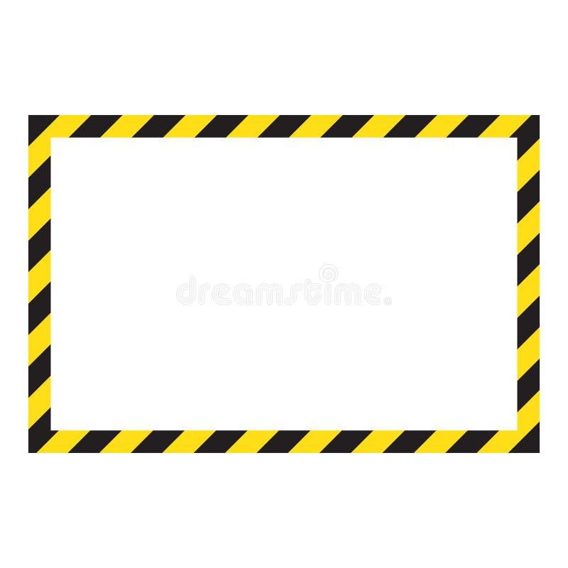 Waarschuwend gestreept kader, die zorgvuldig, potentieel gevaar, gele & zwarte strepen op de diagonaal waarschuwen te zijn stock illustratie