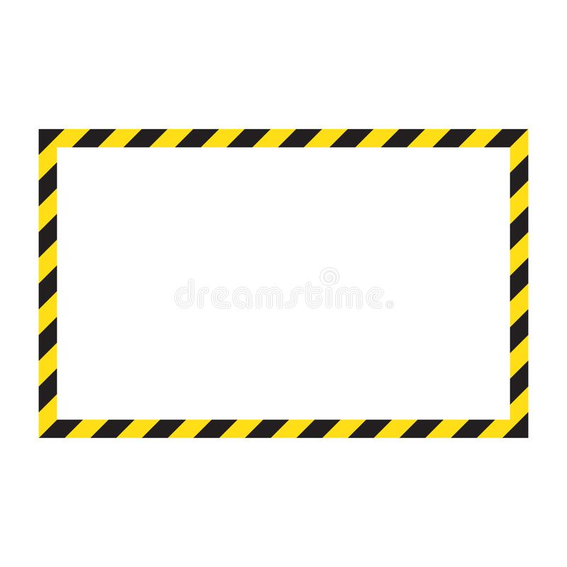 Waarschuwend gestreept kader, die zorgvuldig, potentieel gevaar, gele & zwarte strepen op het diagonale, vectormalplaatjeteken wa stock illustratie