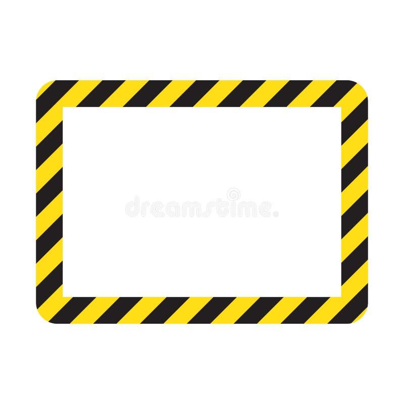 Waarschuwend gestreept kader, die zorgvuldig, potentieel gevaar, gele & zwarte strepen op het diagonale, vectormalplaatjeteken wa vector illustratie