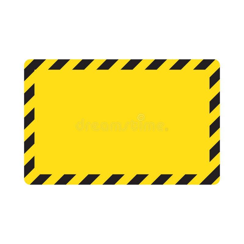 Waarschuwende gestreepte achtergrond, die zorgvuldig, potentieel gevaar, gele & zwarte strepen op het diagonale, vectormalplaatje vector illustratie
