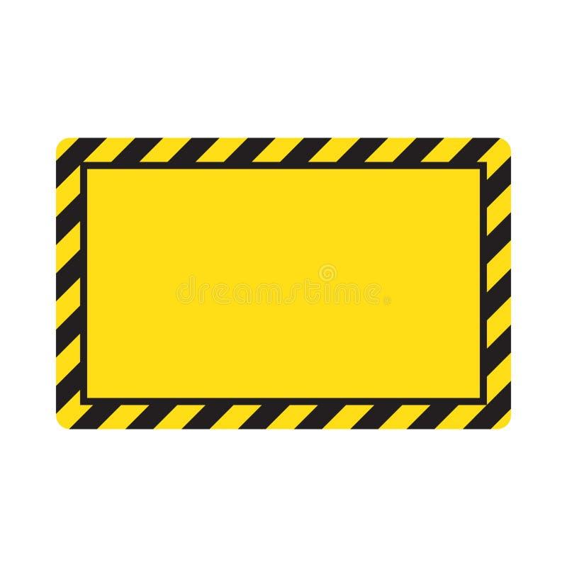 Waarschuwende gestreepte achtergrond, die zorgvuldig, potentieel gevaar, gele & zwarte strepen op het diagonale, vectormalplaatje stock illustratie