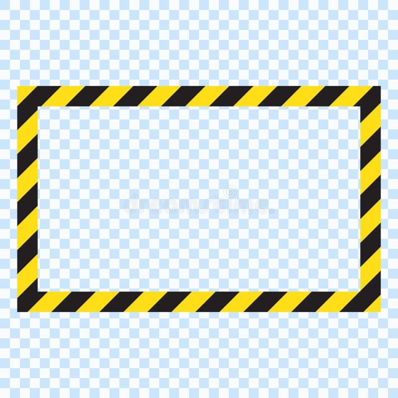Waarschuwende gestreepte rechthoekige achtergrond, die zorgvuldig, potentieel gevaar, gele & zwarte strepen op diagonaal, vector  stock illustratie