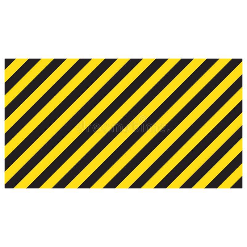 Waarschuwende gestreepte rechthoekige achtergrond, gele en zwarte strepen op de diagonaal, een waarschuwing zorgvuldig te zijn royalty-vrije illustratie
