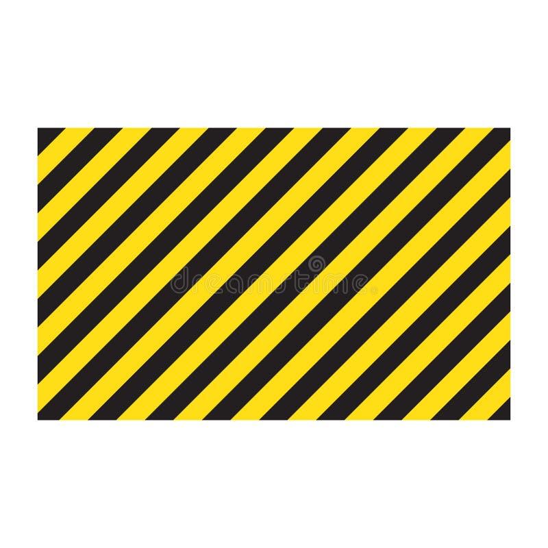 Waarschuwende gestreepte rechthoekige achtergrond, gele en zwarte strepen op de diagonaal, een waarschuwing zorgvuldig te zijn -  stock illustratie