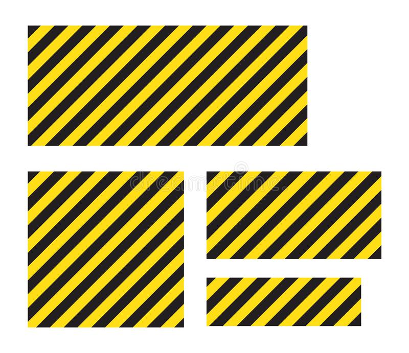 Waarschuwende gestreepte rechthoekige achtergrond, gele en zwarte strepen op de diagonaal, een waarschuwing zorgvuldig te zijn -  royalty-vrije illustratie