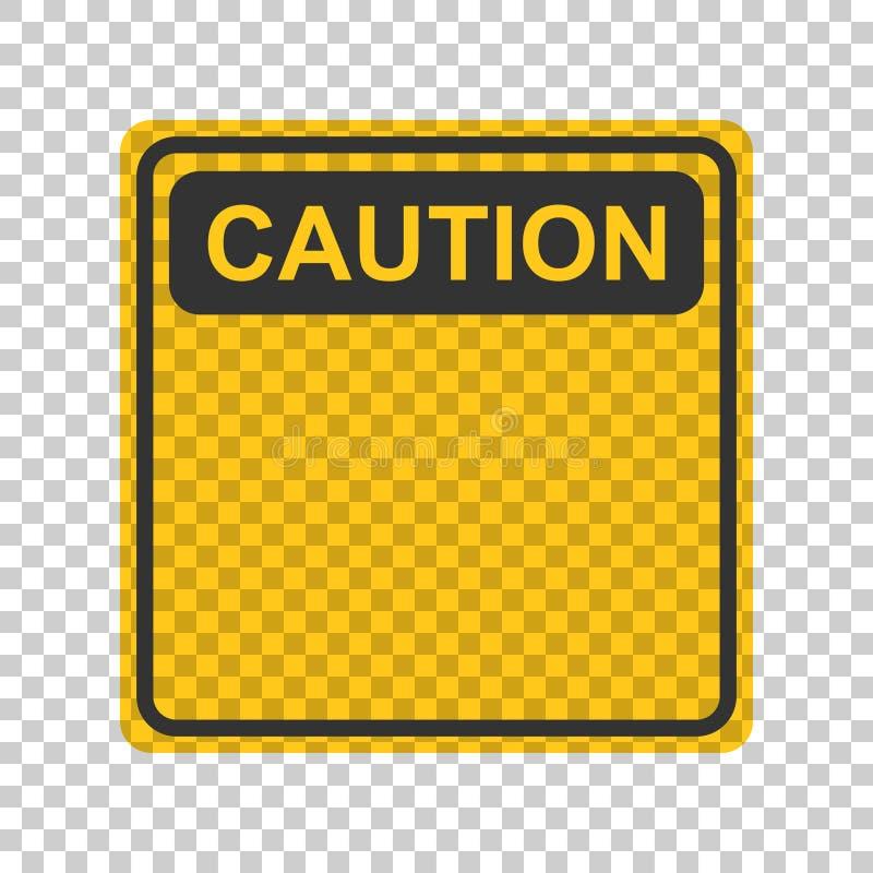 Waarschuwing, het pictogram van het voorzichtigheidsteken in vlakke stijl Gevaarsalarm vectoril royalty-vrije illustratie