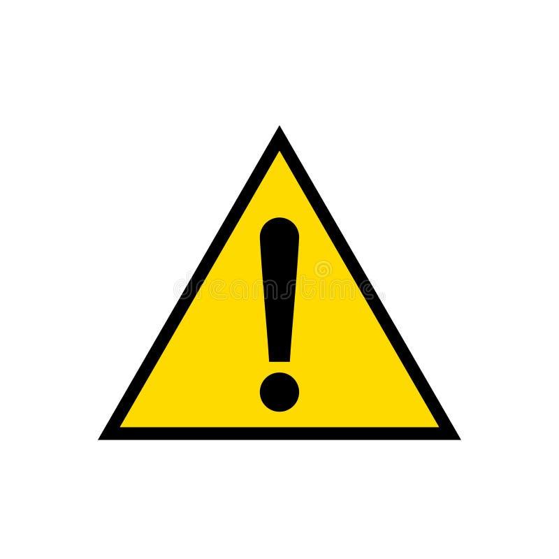 Waarschuwing, het tekenpictogram van de aandachts geel die driehoek, op witte achtergrond wordt geïsoleerd royalty-vrije illustratie