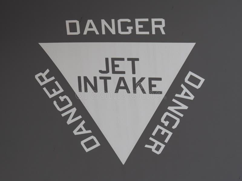 Waarschuwing op een f35 voor de straalopname stock afbeelding