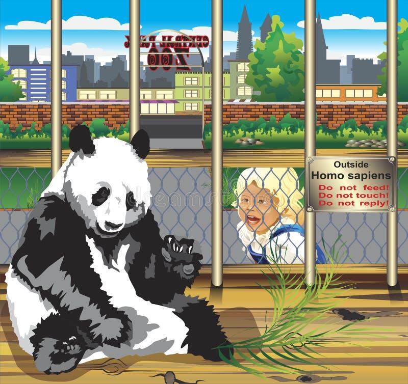 Waarschuwing van de panda in een kooi