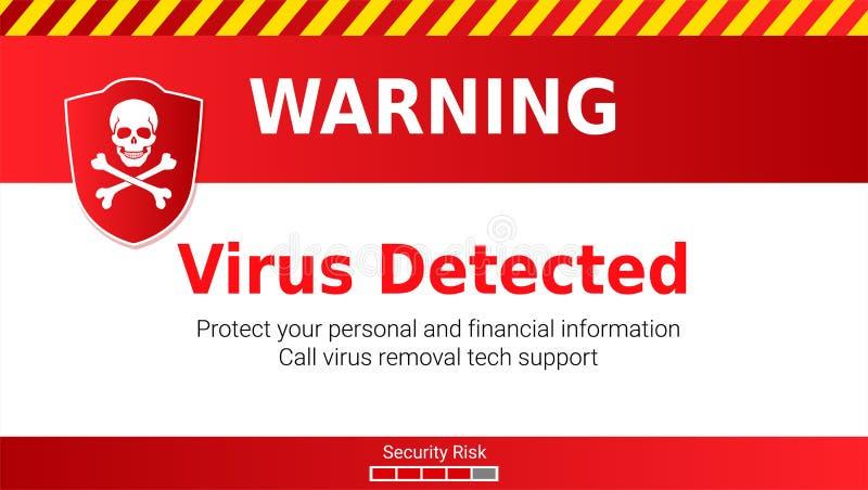 Waarschuwing van Malware-aanval, ontdekt virus Schedel en gekruiste beenderen op rood schild Bericht die uw aandacht vereisen stock illustratie