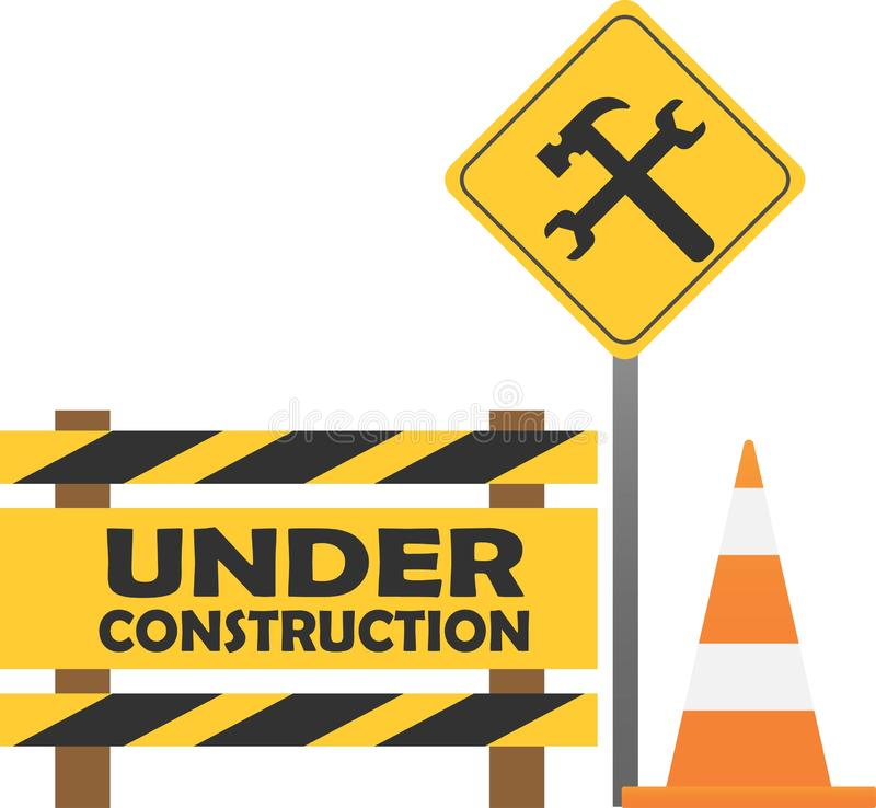 Waarschuwingsbord in aanbouw op de stadsachtergrond stock afbeelding