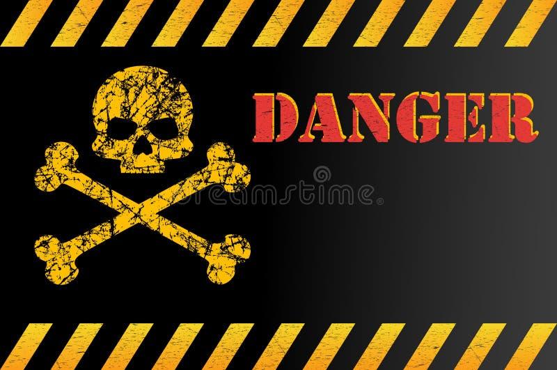 Waarschuwingsbord van gevaar met schedel, met ruimte voor tekstverklaring Gekrast effect, grunge, versleten, Vector illustratie vector illustratie