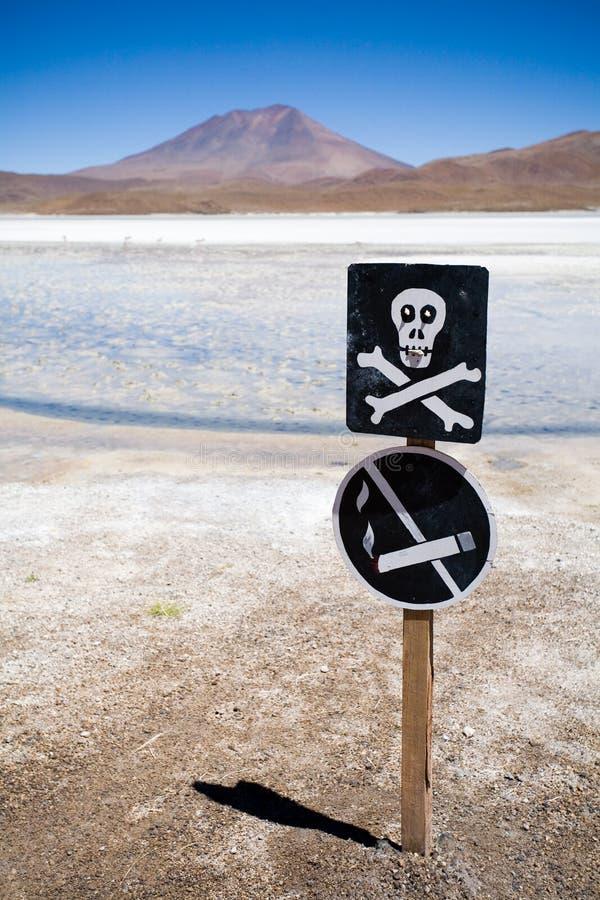 Waarschuwingssein, Altiplano, Bolivië royalty-vrije stock afbeeldingen