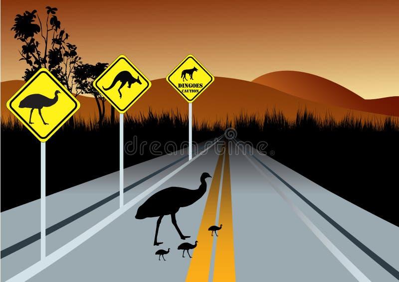 Waarschuwingsverkeersteken voor de dieren van Australië royalty-vrije illustratie