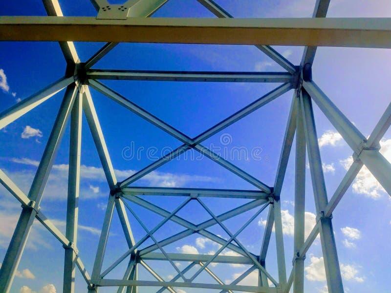 Wabashabrug die over de Rivier van de Mississippi kruisen stock foto's