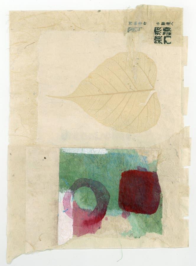 Wabi萨比纹理摘要绘的拼贴画艺术 免版税库存照片