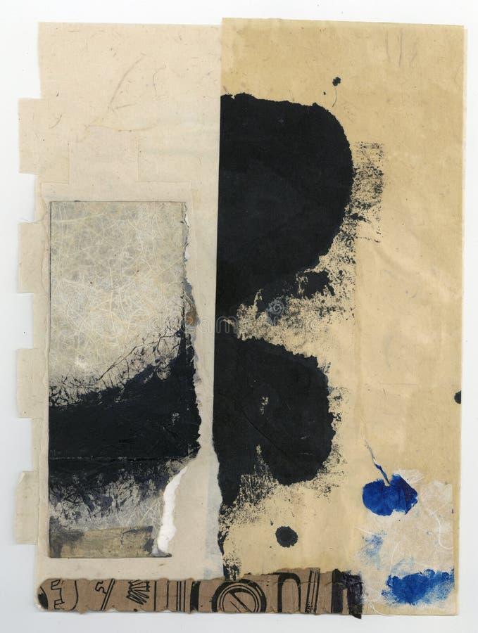 Wabi萨比纹理摘要绘的拼贴画艺术 库存图片