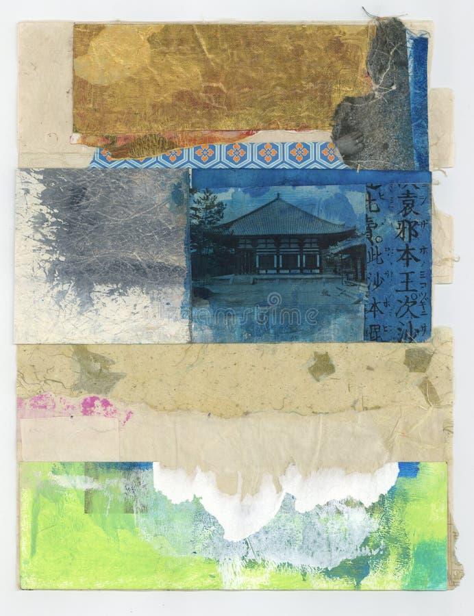 Wabi萨比纹理摘要绘的拼贴画艺术 向量例证