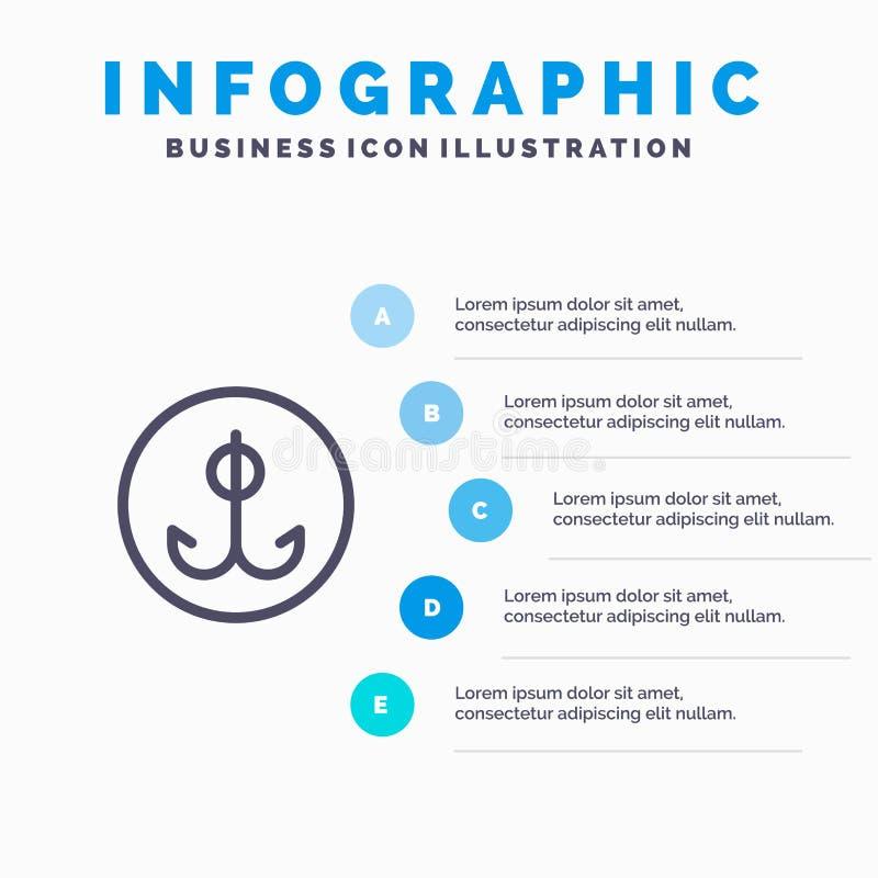 Wabije, Łowiący, haczyk, sport Kreskowa ikona z 5 kroków prezentacji infographics tłem ilustracja wektor