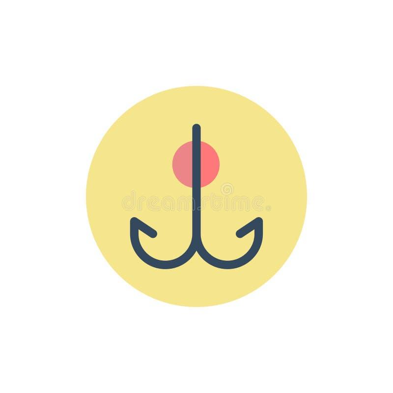 Wabije, Łowiący, haczyk, sporta koloru Płaska ikona Wektorowy ikona sztandaru szablon ilustracji