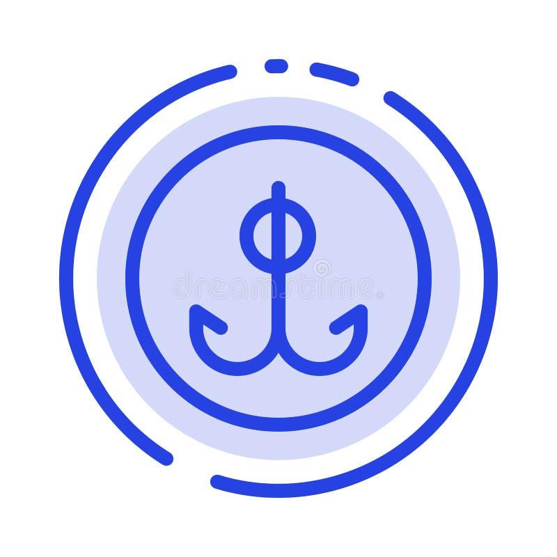Wabije, Bawi się błękit Kropkującą linii linii ikonę, Łowiący, haczyk, ilustracji