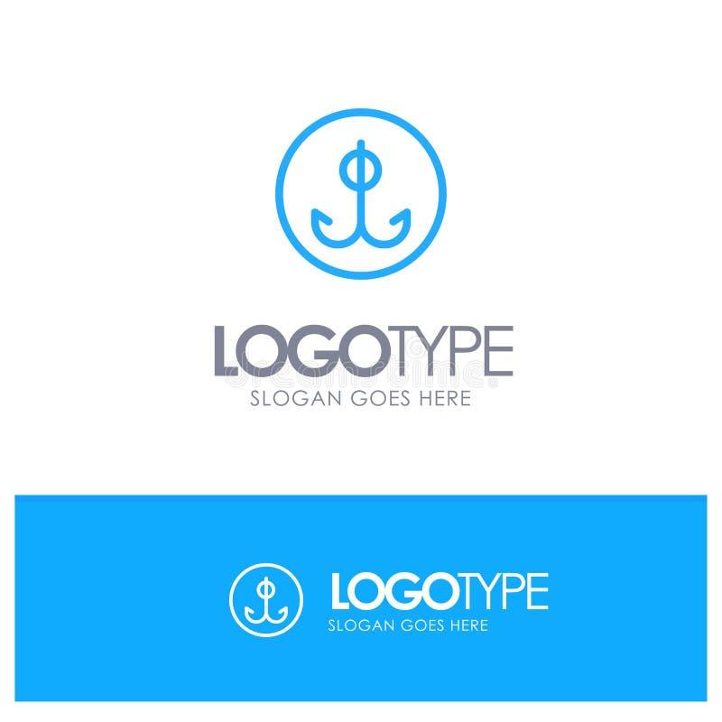 Wabije, Bawi się Błękitnego konturu logo z miejscem dla tagline, Łowiący, haczyk, ilustracja wektor