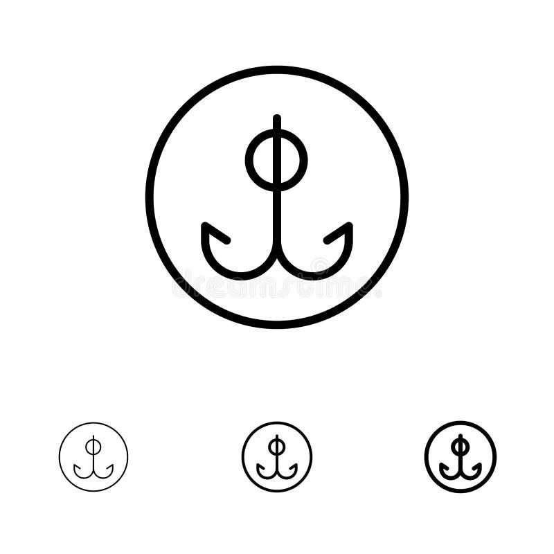 Wabije, Bawi się czerni linii ikony set, Łowiący, haczyk, Śmiałego i cienkiego royalty ilustracja