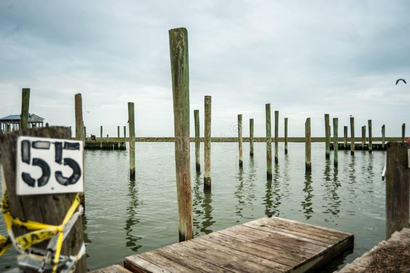 Wachapreague的, VA空的小游艇船坞 库存照片