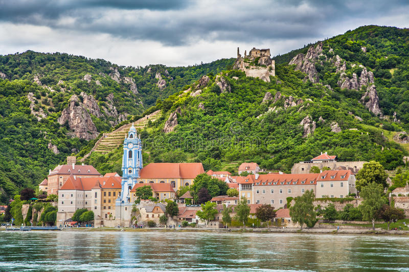 Wachau valley with town of Dürnstein and Danube river, Austria. Beautiful landscape with the town of Durnstein and Danube river in the Wachau valley, Lower royalty free stock photos