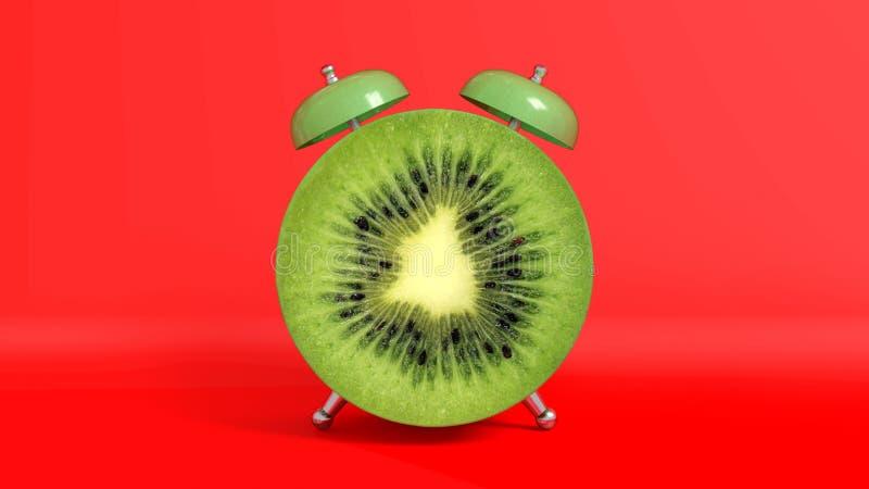 Wachen Sie geformte Kiwi der Weinlese Morgen auf Wiedergabe 3d lizenzfreie abbildung