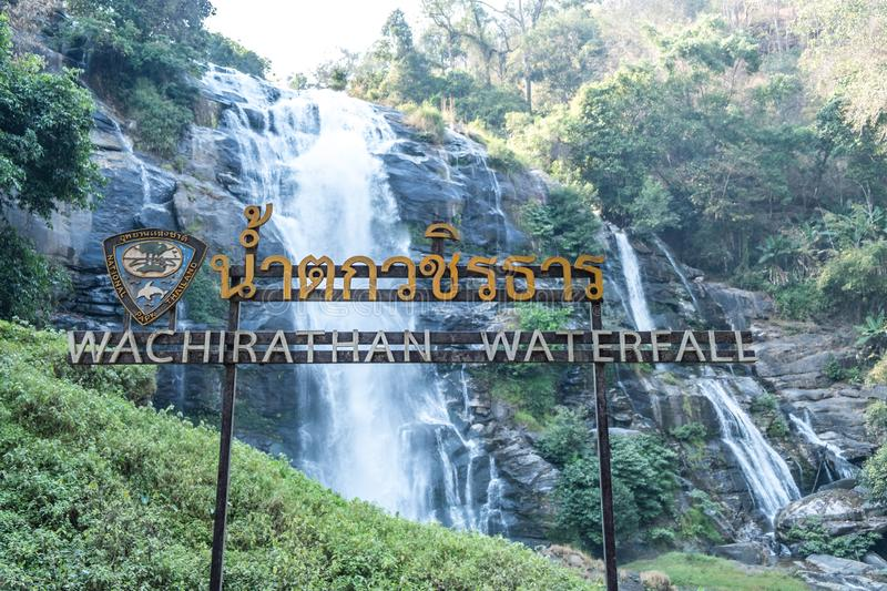Wachirathan Waterfall at Doi Inthanon National Park, Mae Chaem District, Chiang Mai Province, Thailand royalty free stock photography