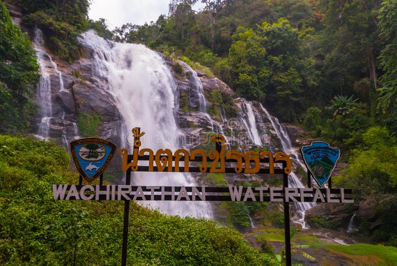 Wachirathan waterfall, Thailand. Wachirathan waterfall, Doi inthanon national park, Thailand stock photo