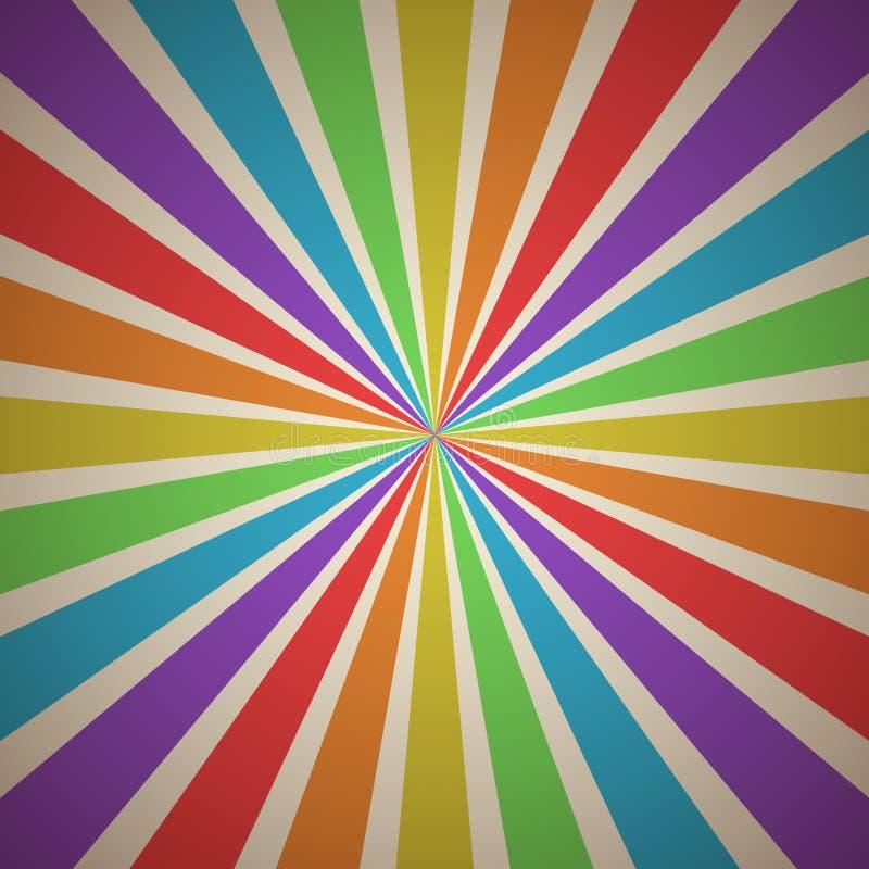 Wachlować promienia Abstrakcjonistycznego Geometrycznego tło z lampasami w tęczy widma rocznika kolorach royalty ilustracja