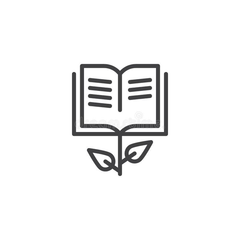 Wachsen Sie Buchlinie Ikone lizenzfreie abbildung