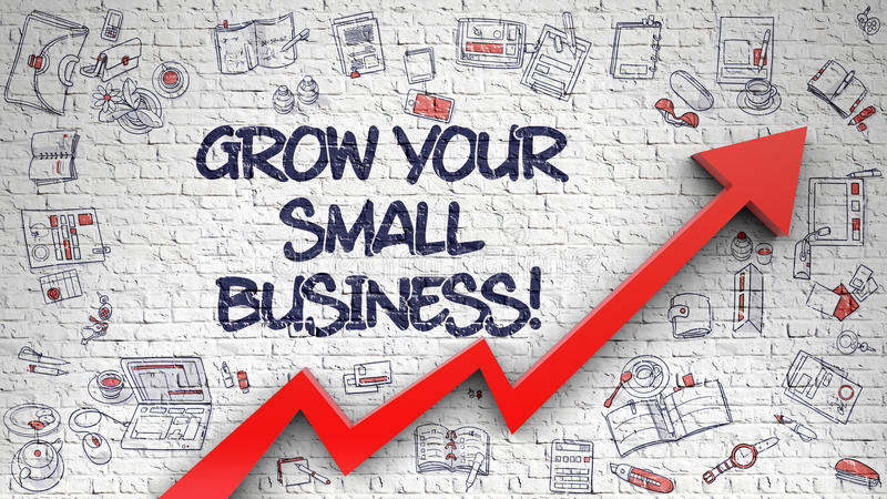 Wachsen Sie Ihren Kleinbetrieb, der auf weiße Backsteinmauer gezeichnet wird 3d stock abbildung