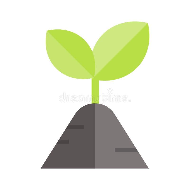 Wachsende Ikone der Betriebsprobenahme Lokalisierte flache Illustration farbiger Vektor Ikonen von Eco säubern grüne Energie für  lizenzfreie stockfotografie