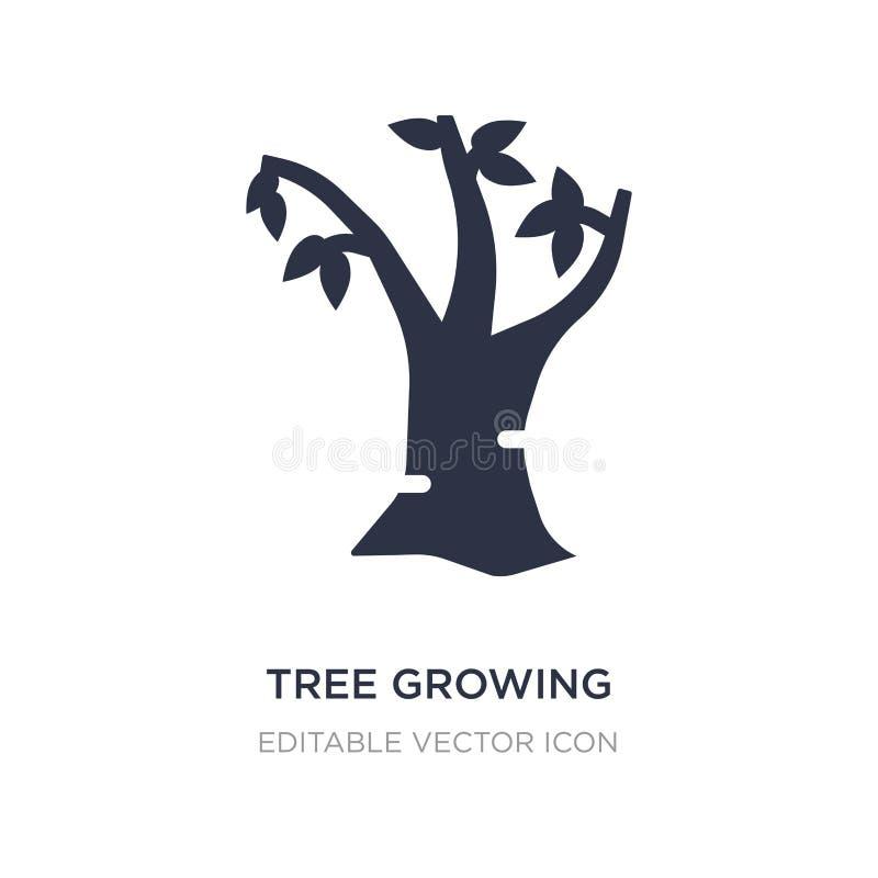 wachsende Ikone des Baums auf weißem Hintergrund Einfache Elementillustration vom Naturkonzept stock abbildung