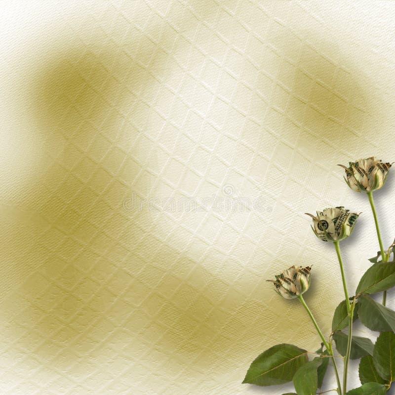 Wachsende Rosen auf dem abstrakten Hintergrund lizenzfreie abbildung