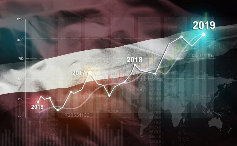 Wachsende Statistik Finanz-2019 gegen Lettland-Flagge vektor abbildung