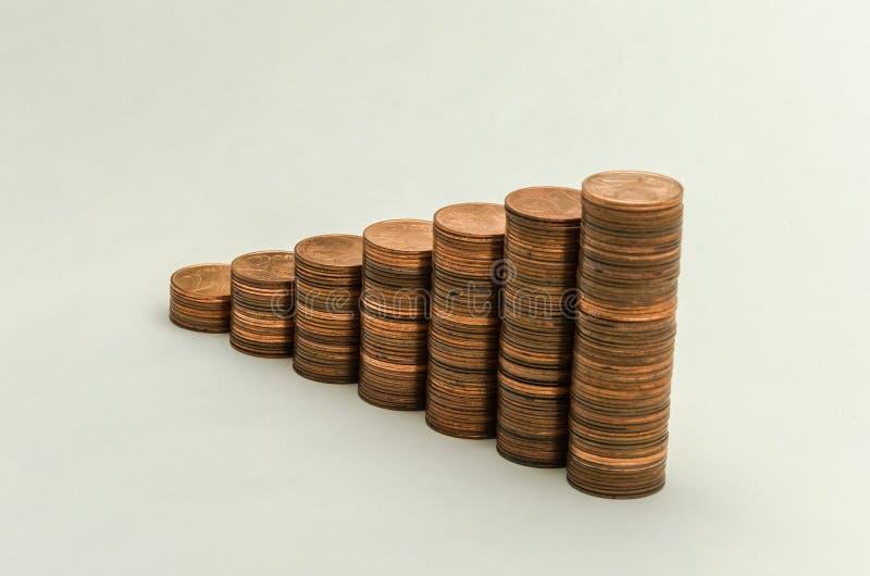 Wachsender Berg von Münzen in der Bezeichnung von zwei Eurocents auf weißem Hintergrund stockfoto