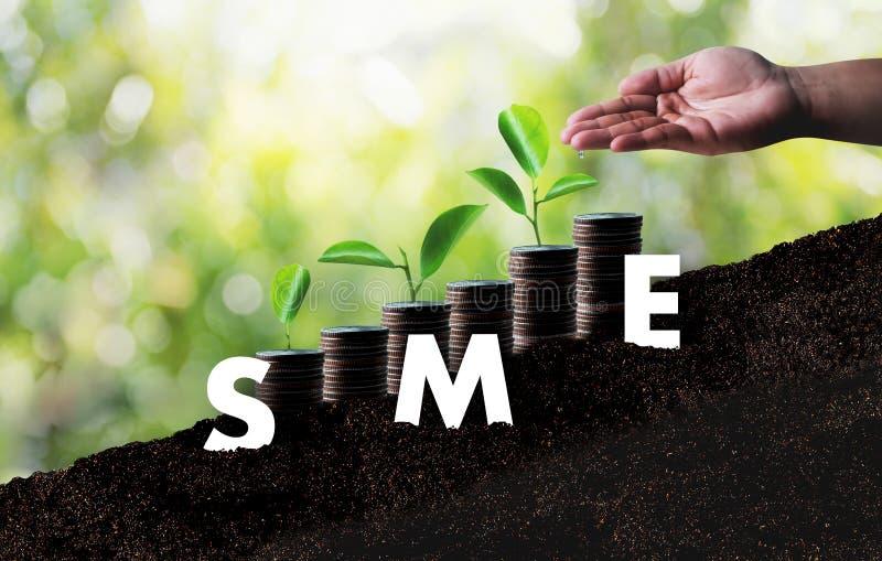 Wachsender Einsparungensgeschäft SME oder kleines und Unternehmen stockbild