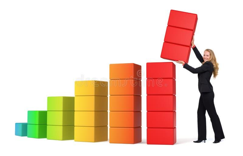 Wachsender Erfolg der Geschäftsfrau - Diagramm 3d lizenzfreie abbildung